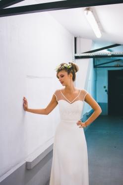 Morgane dans une robe de Mademoiselle de Guise